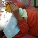 6歳歯医者にて 初フッ素塗装 成功しました!